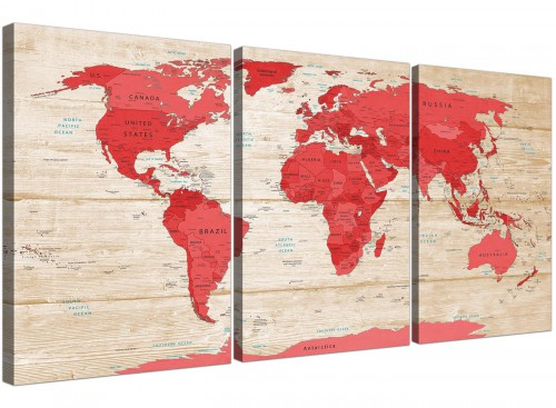 Oversized Large Red Cream Map Of World Atlas Canvas Multi Set Of 3 3311 For Your Office