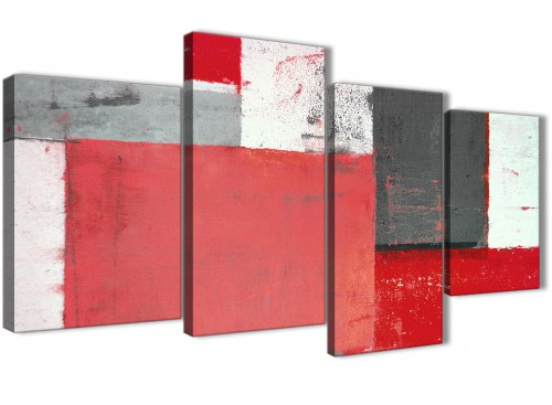 Oversized Large Red Grey Abstract Painting Canvas Wall Art Multi 4 Set 130cm Wide 4343 For Your Dining Room