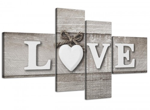 Oversized Large Shabby Chic Love Quote Grey Canvas Split 4 Panel 4297 For Your Living Room