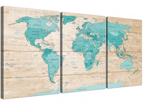 Oversized Large Teal Cream Map Of World Atlas Canvas Split 3 Set 3313 For Your Dining Room