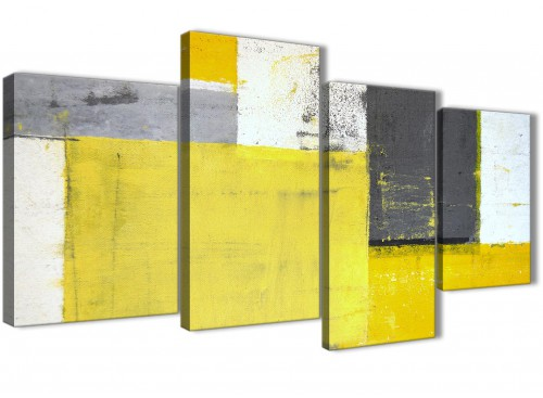 Oversized Large Yellow Grey Abstract Painting Canvas Multi 4 Part 130cm Wide 4346 For Your Living Room