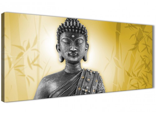 Oversized Mustard Yellow And Grey Silver Wall Art Print Of Buddha Canvas Modern 120cm Wide 1328 For Your Living Room