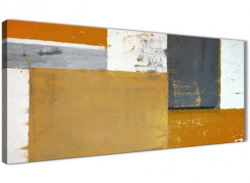 Oversized Orange Grey Abstract Painting Canvas Wall Art Print Modern 120cm Wide 1341 For Your Hallway