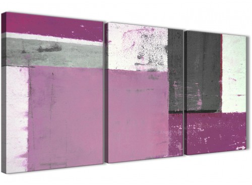 Oversized Purple Grey Abstract Painting Canvas Wall Art Picture Split 3 Panel 125cm Wide 3355 For Your Dining Room
