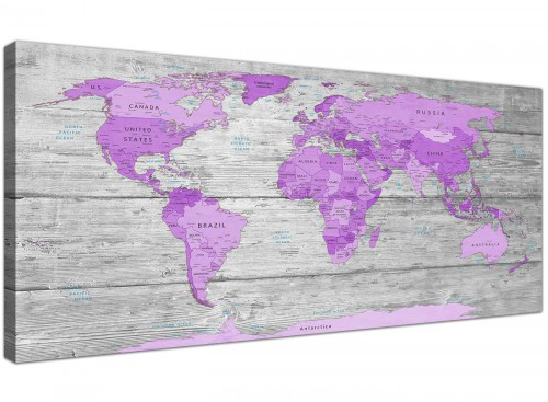 cheap purple grey large purple and grey map of world atlas canvas wall art print maps canvas modern 120cm wide 1298 for your girls bedroom