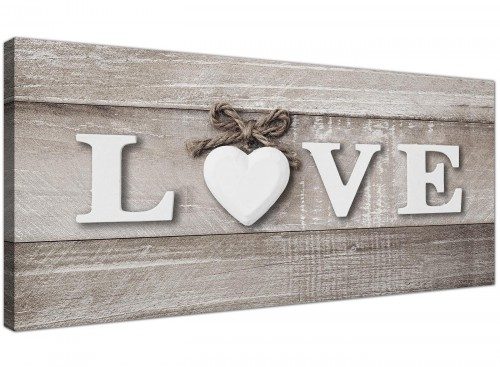 Oversized Shabby Chic Love Quote Grey Canvas Modern 120cm Wide 1297 For Your Bedroom
