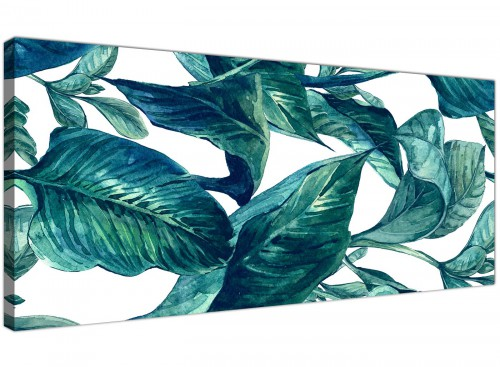 Oversized Teal Blue Green Tropical Exotic Leaves Canvas Modern 120cm Wide 1325 For Your Dining Room