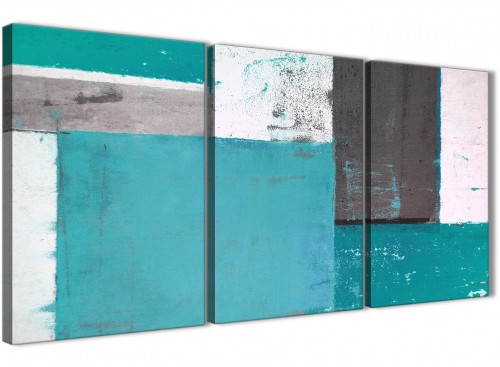 Oversized Teal Grey Abstract Painting Canvas Wall Art Split 3 Set 125cm Wide 3344 For Your Hallway