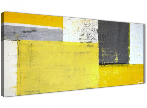 Oversized Yellow Grey Abstract Painting Canvas Modern 120cm Wide 1346 For Your Hallway