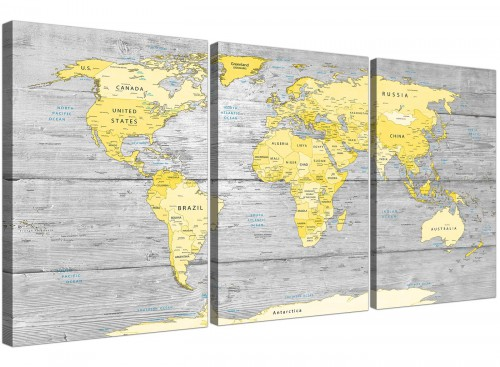 Oversized Yellow Grey Large Yellow Grey Map Of World Atlas Canvas Wall Art Print Maps Canvas Split 3 Piece 3305 For Your Living Room