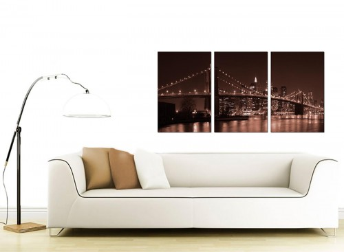 Set of 3 American City Canvas Art 125cm x 60cm 3122