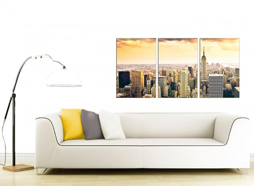 Set of 3 American City Canvas Prints 125cm x 60cm 3201