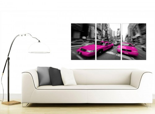 Set of 3 Cityscape Canvas Wall Art 125cm x 60cm 3026