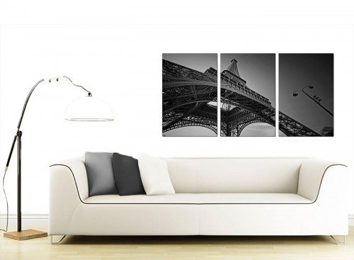 3 Panel French Cityscape Canvas Wall Art 125cm x 60cm 3016