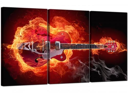 3 Part Musical Instrument Canvas Prints Fiery Guitar 3065
