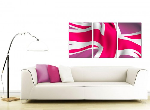 3 Part British Flag Canvas Pictures 125cm x 60cm 3012