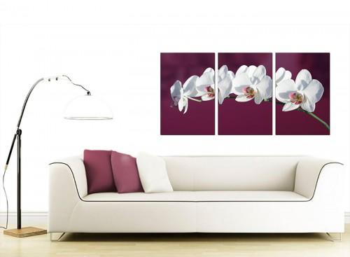Set of 3 Floral Canvas Wall Art 125cm x 60cm 3116