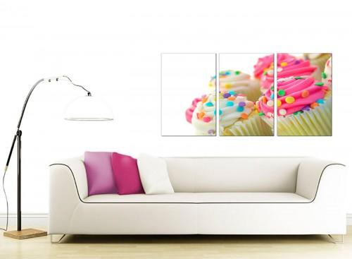 Set of 3 Food & Drink Canvas Prints UK 125cm x 60cm 3084