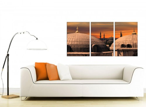 Three Part City Canvas Prints UK 125cm x 60cm 3192