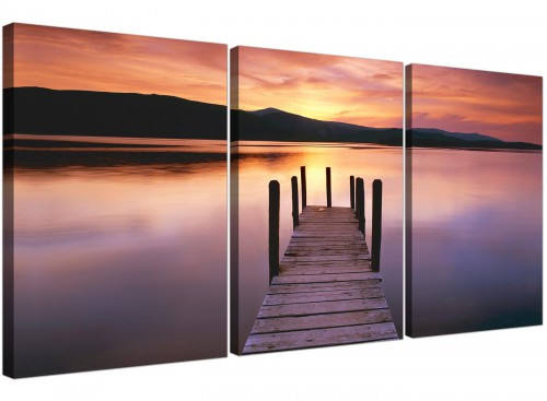 Set of 3 Orange Landscape Canvas Prints Lake Sunset 3214