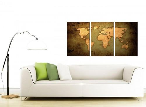 3 Panel Map Canvas Prints UK 125cm x 60cm 3189