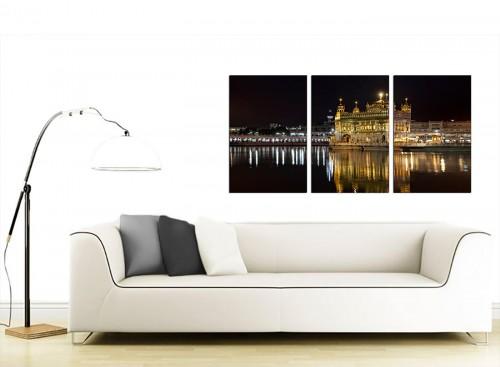 Set of 3 Indian Canvas Art 125cm x 60cm 3195