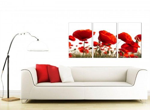 Set of 3 Floral Canvas Pictures 125cm x 60cm 3056