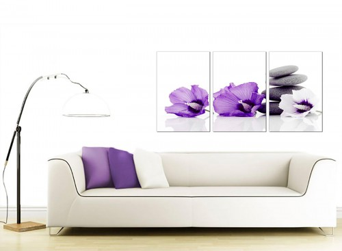 home modern purple grey white flowers zen stones floral canvas 3