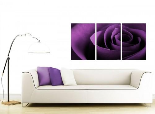 3 Part Flower Canvas Pictures 125cm x 60cm 3112