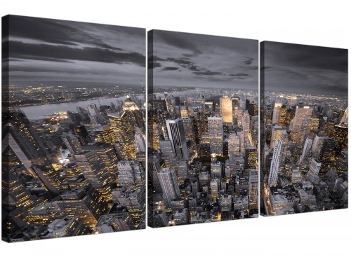 Black White Yellow New York Skyline Cityscape Canvas - 3 Panel - 125cm - 3269