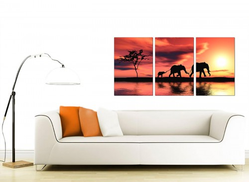 Set of 3 Wildlife Canvas Prints UK 125cm x 60cm 3102