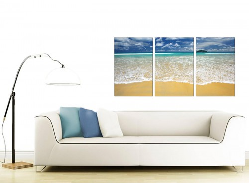 Set of 3 Sea Canvas Wall Art 125cm x 60cm 3043