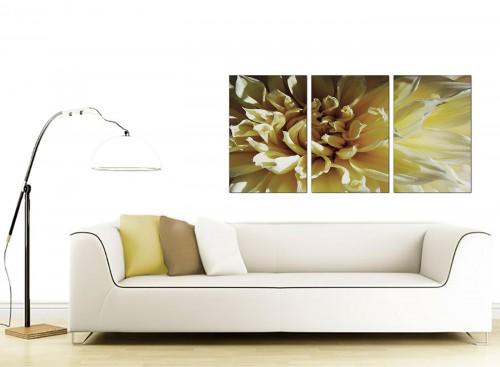 3 Part Floral Canvas Wall Art 125cm x 60cm 3104