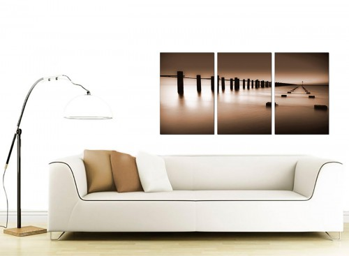 3 Part Seascape Canvas Pictures 125cm x 60cm 3088