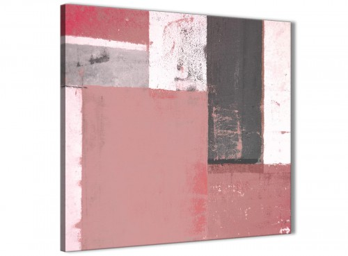 Modern Blush Pink Abstract Painting Wall Art Print Canvas Modern 49cm Square 1S334S For Your Girls Bedroom