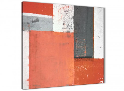 Modern Coral Grey Abstract Painting Canvas Wall Art Pictures Modern 64cm Square 1S336M For Your Living Room