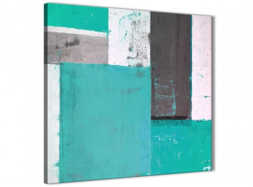 Modern Turquoise Grey Abstract Painting Canvas Wall Art Modern 49cm Square 1S345S For Your Hallway