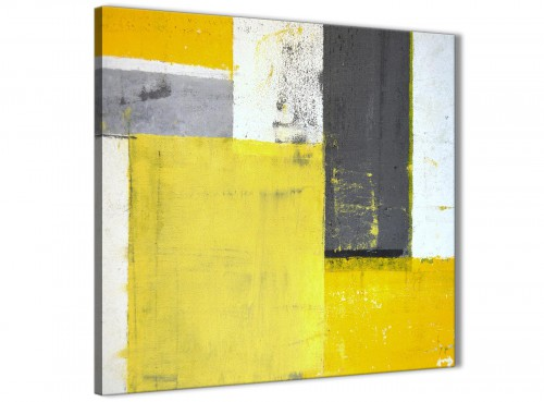 Modern Yellow Grey Abstract Painting Canvas Modern 49cm Square 1S346S For Your Living Room