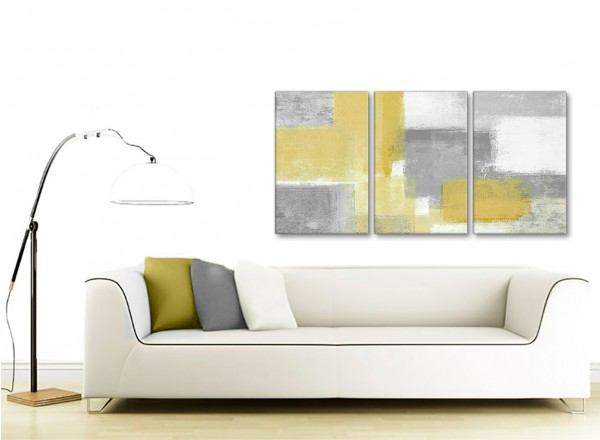 3 panel mustard yellow grey kitchen canvas wall art decor for Dining room wall art uk