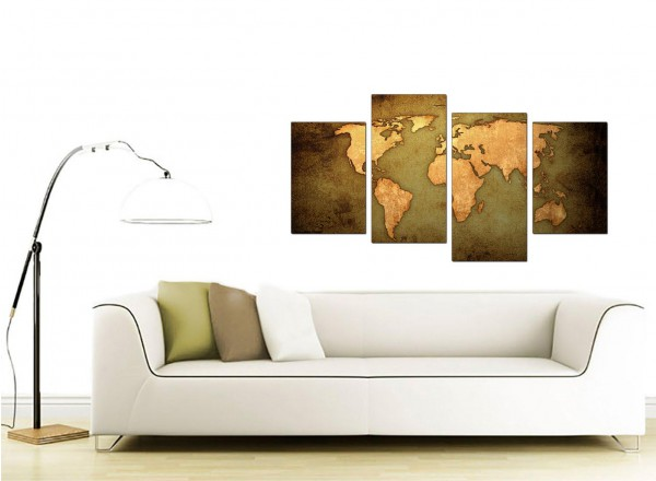 Canvas prints of a world map in green and brown for your for Modern house 8 part 6