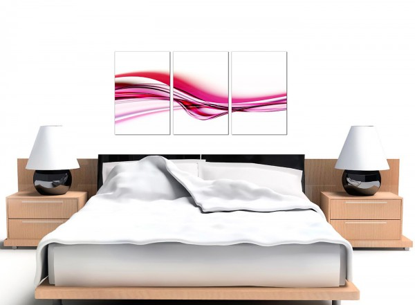 white wave bed large abstract canvas pictures set of three in pink