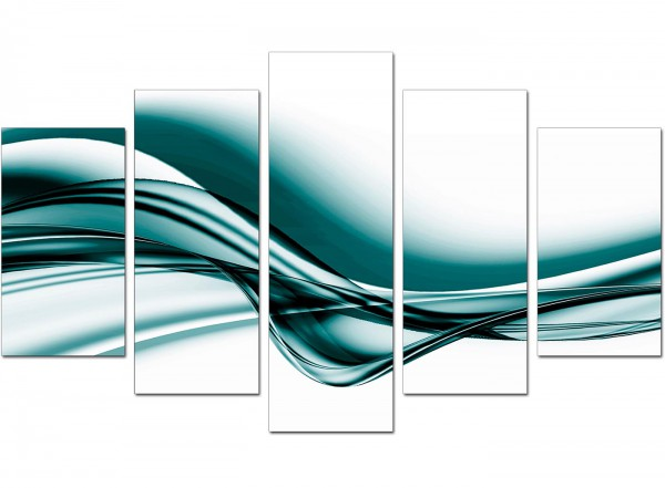 Extra Large Teal Abstract Canvas Wall Art Five Piece