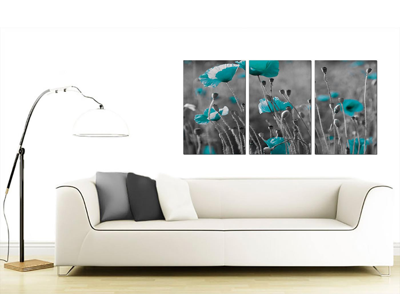 modern teal poppy grey black poppies flower floral canvas 3 set