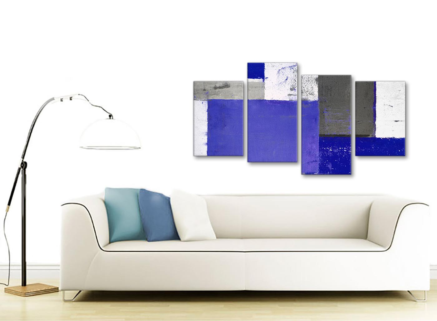Large indigo navy blue abstract painting canvas wall art for Sofa bed 130cm wide