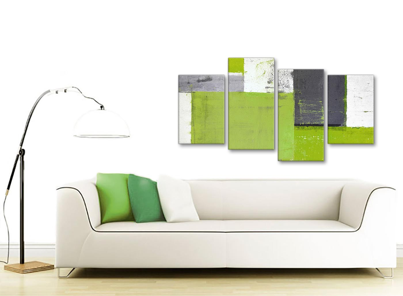 Large lime green grey abstract painting canvas wall art for Sofa bed 130cm wide