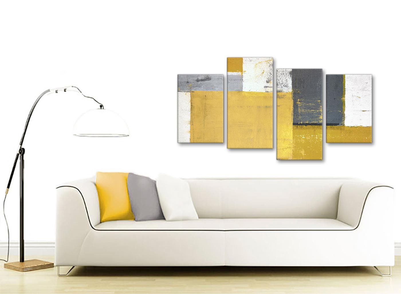 Large mustard yellow grey abstract painting canvas wall for Sofa bed 130cm wide
