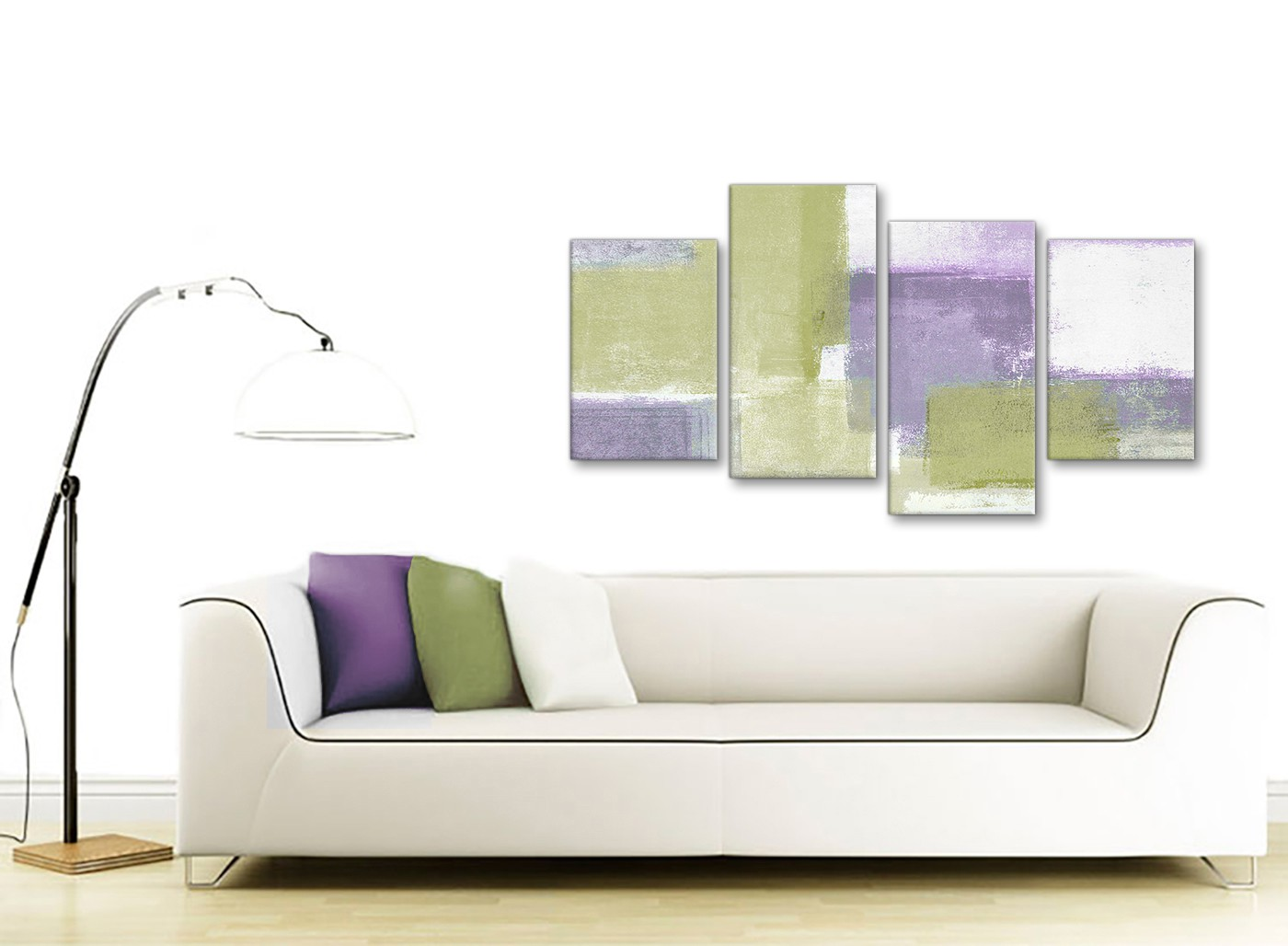Large lime green purple abstract painting canvas wall art for Sofa bed 130cm wide