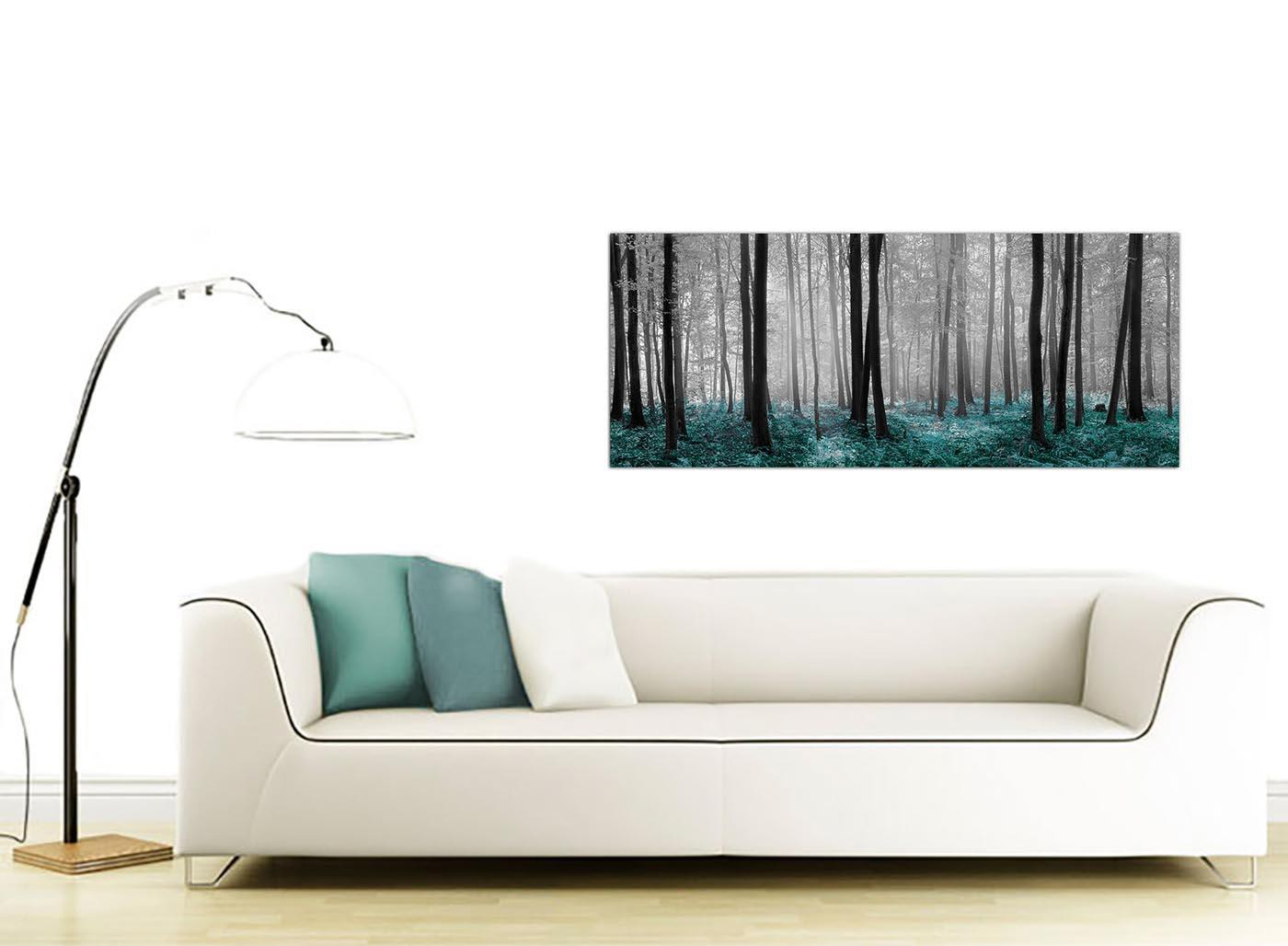 Black White Teal Trees Canvas Wall Art Forest Scene