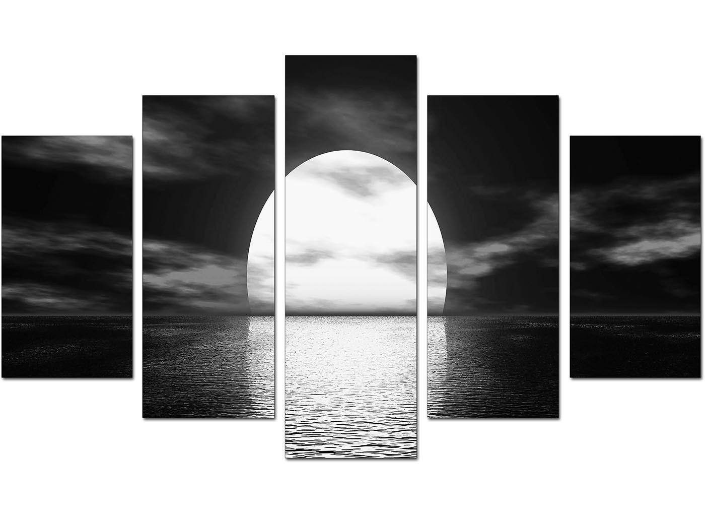 Extra Large Sunset Canvas Prints Set Five Black Amp White