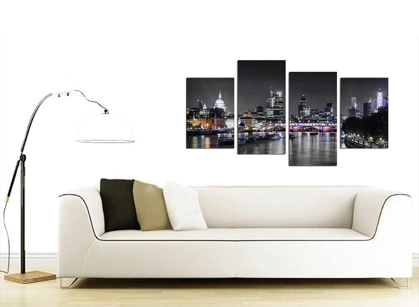 Canvas Wall Art Of London Skyline For Your Living Room 4 Panel